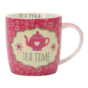MUG 350ML PORCELAIN TEA TIME HAPPY LIFE