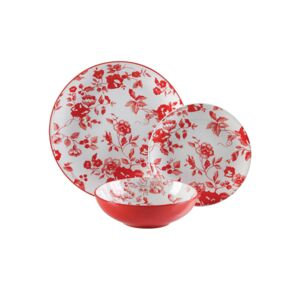 DINNER SET 18PCS LAURA RED
