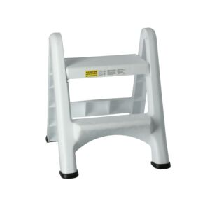 STOOL 2STEP FOLDING PLSTC 137KG WHITE