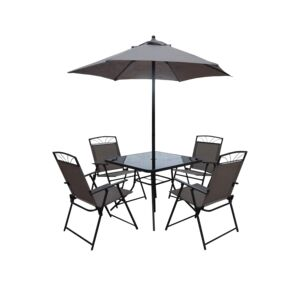 DINING 6PCS SET 4CHAIR 1TABLE 1UMBRE