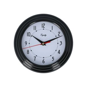 "WALL CLOCK ANALOG 8"" BLACK EQUITY"
