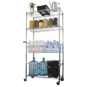 RACK WIRE 4TIER CHROME W/ HANDLE&CASTER