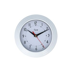 "WALL CLOCK ANALOG 8"" WHITE EQUITY"
