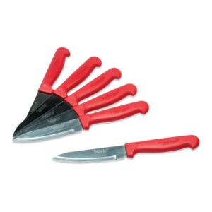 KNIFE SET 6PC STEAK RED HANDLE
