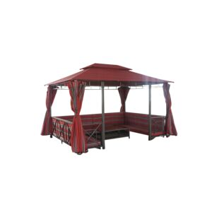 GAZEBO W/BENCH+TABLE+CURTAIN+SHELF