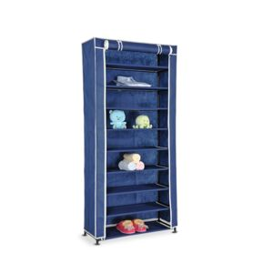SHOE RACK 74X30X160CM CANVAS BLUE