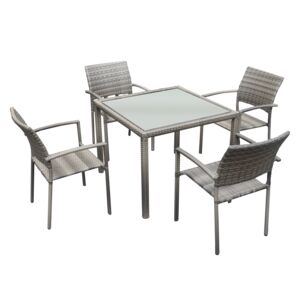 DINING SET 5PCS 1TABLE 4CHAIR WICKER