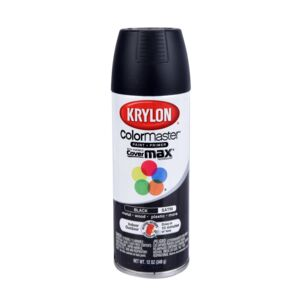 SPRAY PAINT 12oz IN/OUT BLACK SATIN
