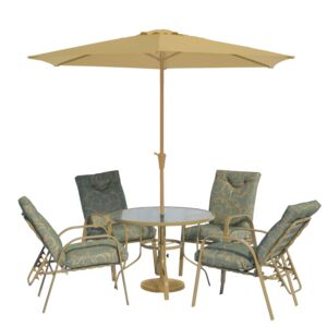 DINING 7PCS SET 1TABLE 4CHAIR 1UMB 1BASE