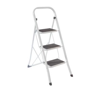 LADDER 3STEP 150KG STEEL WHITE