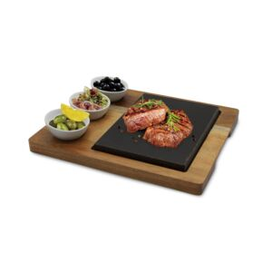 LAVA STONE STEAK SET 5PCS 3BOWL 1TRAY