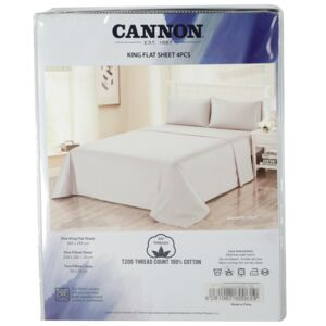 BED SHEET KING 4PC PLAIN 100% COTTON CAN