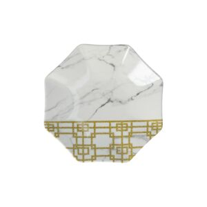 "PLATE 7"" WHT MARBLE & GOLD PATTERN"