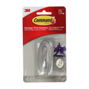 HOOK MEDIUM BRUSHED COMMAND NICKEL 3M