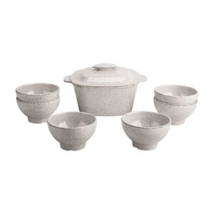 BOWL SOUP SET 8PCS MELAMINE WHT GRANITE