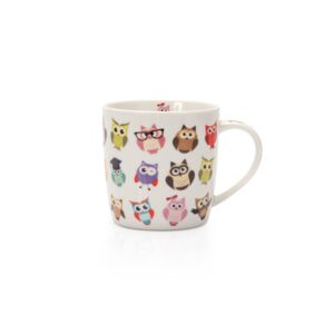MUG 350ML PORCELAIN OWL F HAPPY LIFE