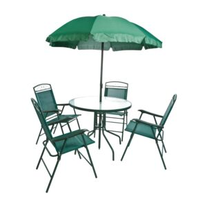 PATIO SET 4CHAIR &RUND TABLE&UMBRL GRN