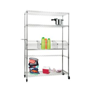 RACK WIRE 4TIER CHROME W/BASKET & CASTER