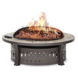 "FIRE PIT 44"" SLATE TABLE ROUND BROWN"