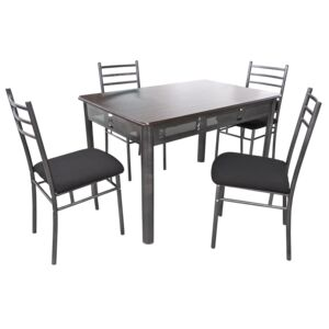 DINING SET RECT TABLE 4CHAIR BLK FABRIC