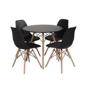 DINING SET 1+4 BLACK COLOR 80X80X72CM
