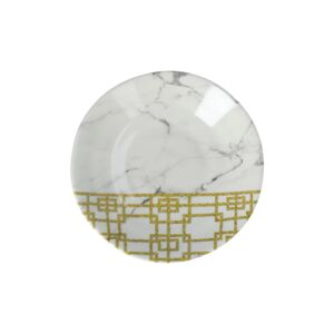 "PLATE 5.5"" RND WHT MARBLE & GOLD PATTERN"