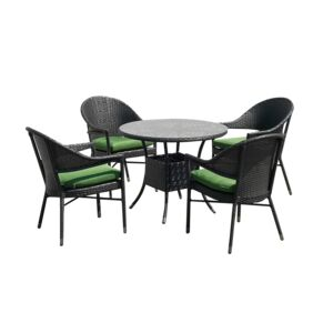 DINING SET 5PCS 4CHAIR 1RND TABLE STEEL