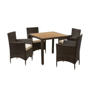DINING SET 5PCS SQRE TABLE 4CHAIR W/CSHN