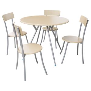 DINING SET RND TABLE 4CHAIR LIGHT BEECH
