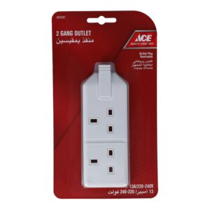 PLUG 13A 220V 2SCKT HEAVY DUTY WHITE ACE