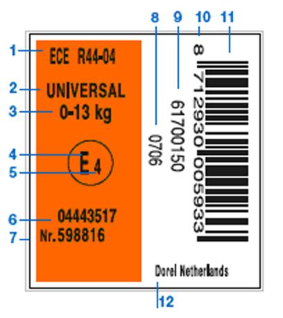 ECE R44/04 approval label - Maxi-Cosi