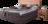 Boxspringbett mit Kopfhaupt aus Wildkernbuche und Boxunterbau in dunkelgrauem Stoff