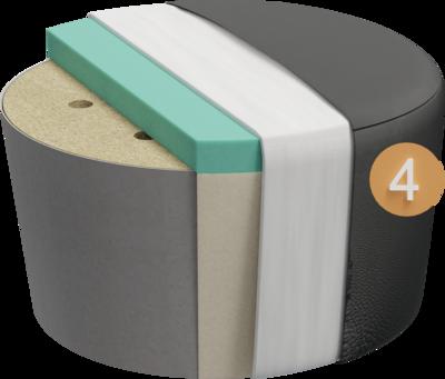 Sitzhocker Villo | Aufbau Querschnitt Gestell mit Polsterung, Feinpolsterung und Bezug