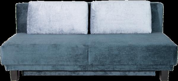 Schlafsofa MOON von vorne blau mit Rückenkissen
