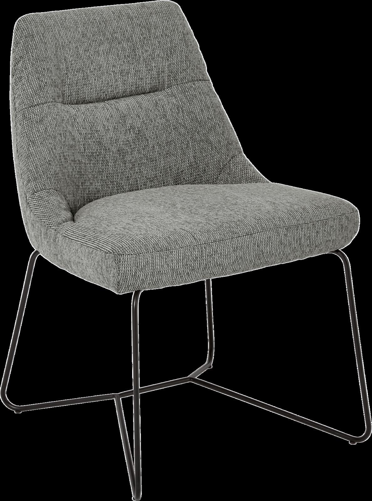 Stuhl Preston in grauem Stoff mit schwarzen Metallfüßen