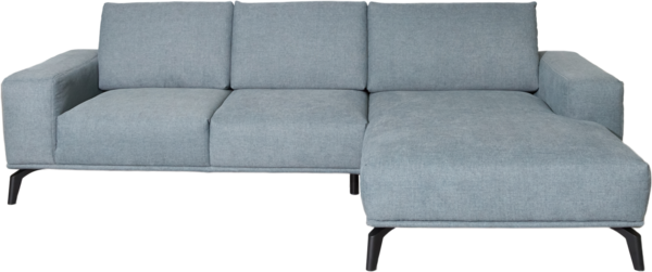 seat set Ocean as a corner sofa with gray fabric | Two-seater with chaise longue | front view