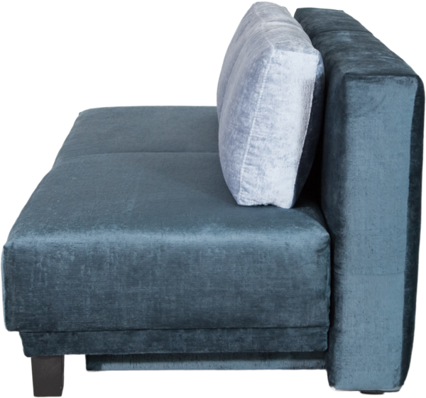 Schlafsofa MOON seitlich blau mit Rückenkissen
