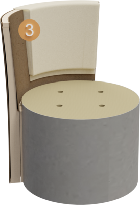 Sitzhocker Veda | Aufbau Querschnitt Gestell, Polsterung, Feinpolsterung und Rückenlehne