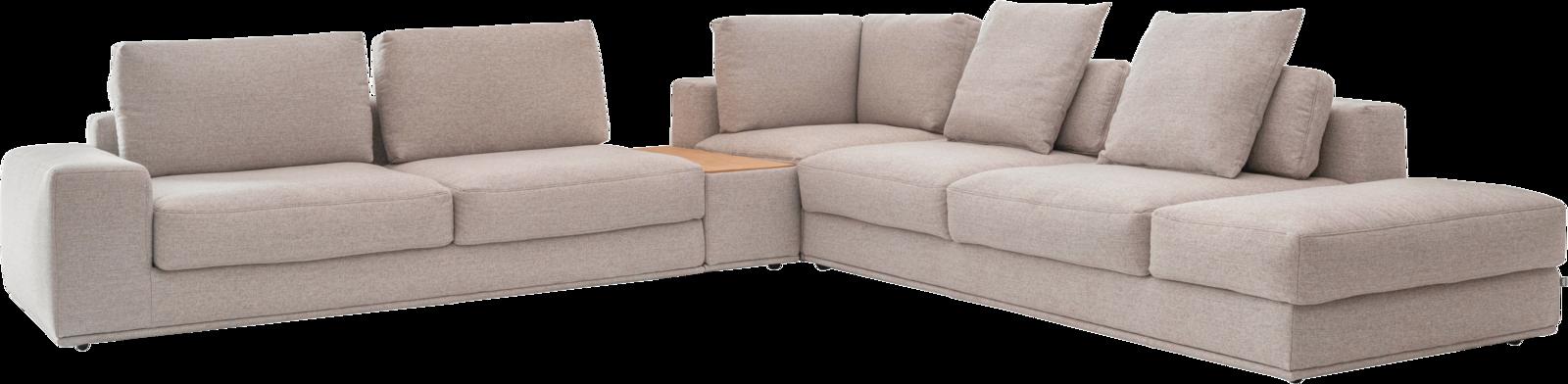 Ecksofa in hellem Stoff  mit großen und kleinen Rückenkissen und integriertem Tischelement.