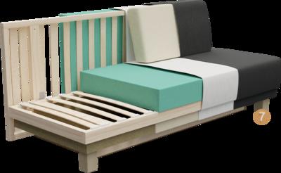 Schlafsofa Siena | Aufbau Querschnitt mit Gestell, Sitzaufbau, Polsterung, Rückenlehne, Feinpolsterung, Bezug, und Füßen