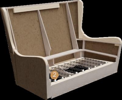 Lobbymöbel Bellamo   Aufbau Querschnitt mit Gestell und Sitzaufbau