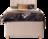 Einzelbett Jordana in Hellbeigem Stoff mit Motorfunktion, Holzfüßen und Naht im Kopfhaupt