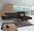 Wohnlandschaft Dänemark in dunkelbraunem Leder mit Rückenverstellung und eleganten Möbelfüßen.