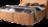 Bett in orangen Stoff mit schwarzen Holzfüßen