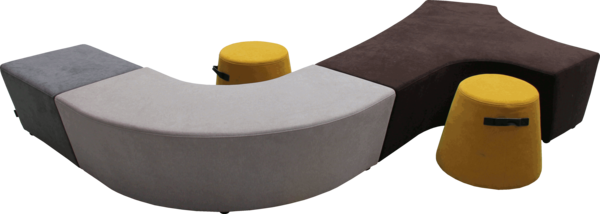 Beispiel-Zusammenstellung für Sitzhocker Vendi | Hockerlandschaft in verschiedenen Farben für Büro oder Kreativzonen | Frontansicht