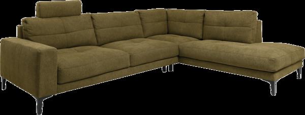 Ecksofa in grünem Stoff, Sitztiefenverstellung und schwarzen Metallfüßen