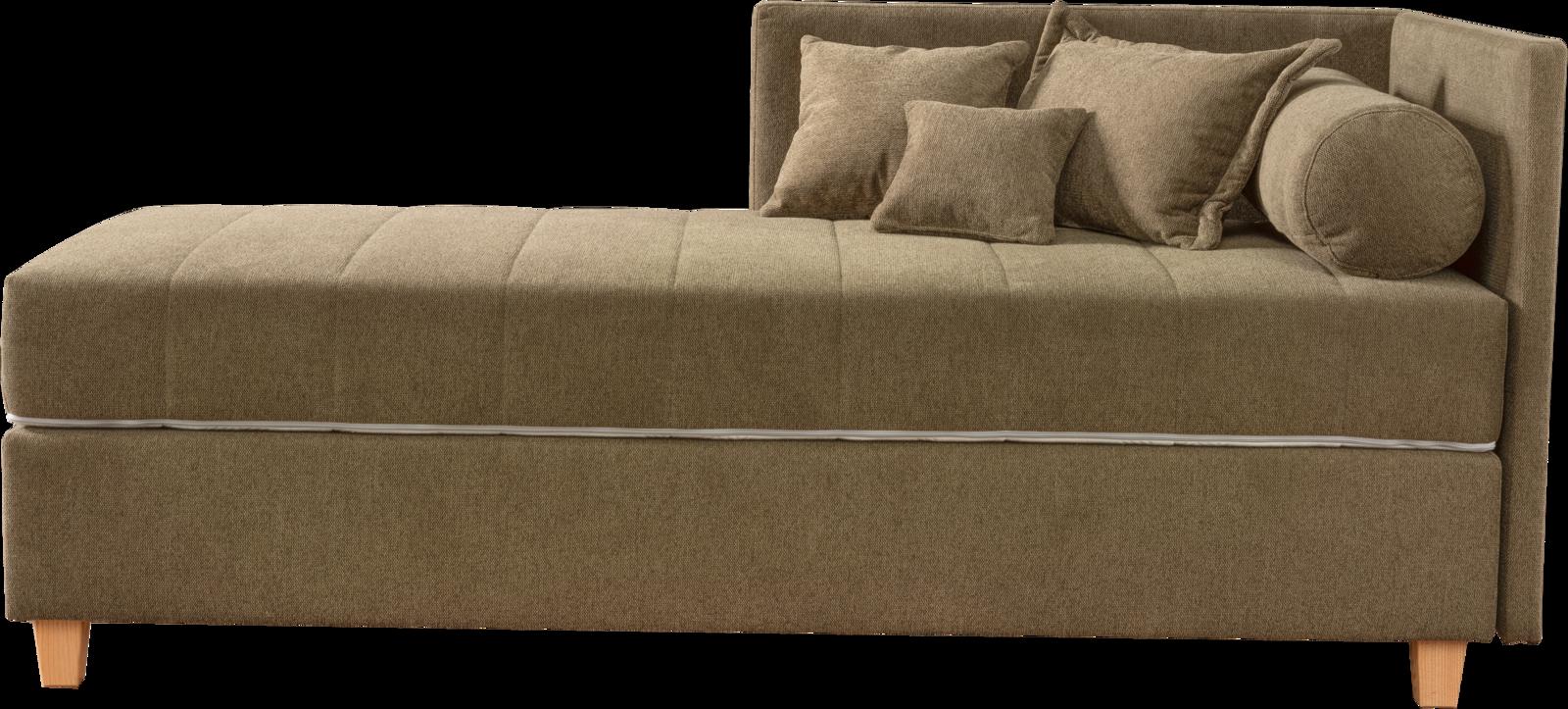 Kona Liege in grünem Stoff, Holzfüßen und Steppung der Matratze