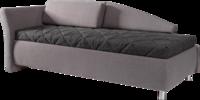 Liege in grauem und dunkelgrauem Stoff und Quadratheftung in der Matratze