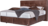 Boxspringbett Prag in braunem Lederstoff, schwarzen Metallfüßen und Knopfheftung am Kopfhaupt