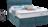 Boxspringbett in türkisem Stoff mit Volant und Nähte im Kopfhaupt